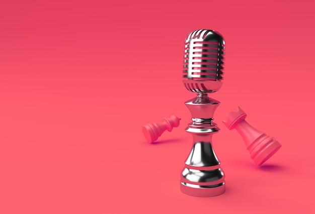 3d render realistic chess rei torre e peões soldado com microfone ilustração design.