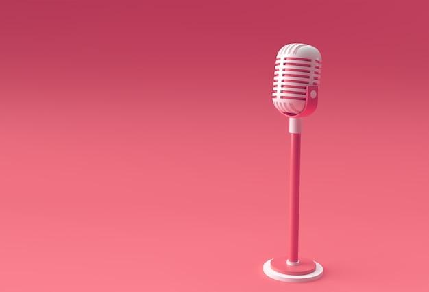 3d render retro microfone com perna curta e suporte, modelo de modelo de prêmio de música, karaokê, rádio e equipamento de som de estúdio de gravação.