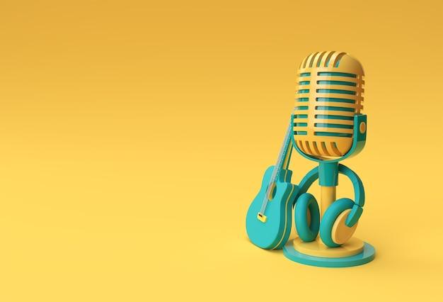 3d render retro microfone em perna curta e suporte com design de ilustração 3d de fone de ouvido.