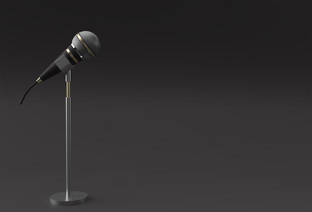 3d render retro microfone em perna curta e suporte.