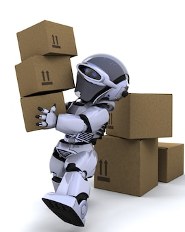 3d, render, robô, em movimento, transporte, caixas