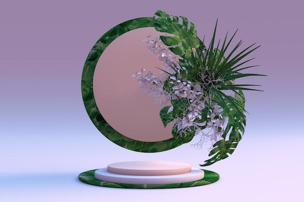 3d render rosa claro e textura de vegetação com pódios de folhas em fundo roxo claro e azul