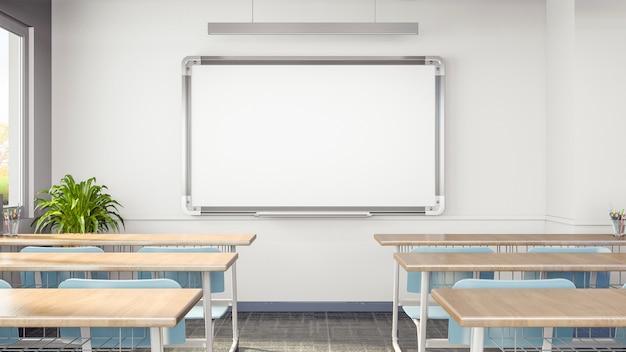 3d render sala de aula vazia com mesas, cadeiras e quadro branco