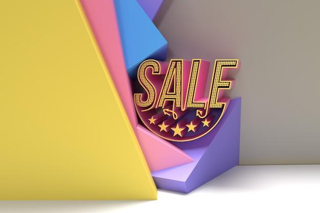 3d render sale discount banner com espaço do seu texto. projeto da ilustração do cartaz do folheto.
