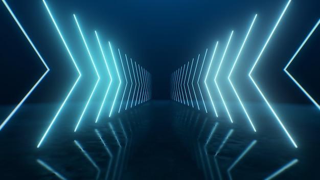 3d render setas de néon entrando em perspectiva
