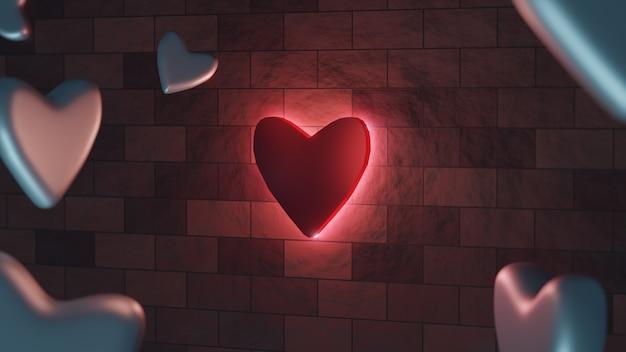 3d render símbolo de amor vermelho brilhante na parede no lado escuro Foto Premium