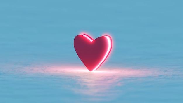 3d render símbolo de amor vermelho no lado da luz
