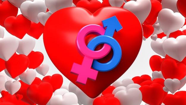 3d render. símbolos de gênero coração, masculino e feminino
