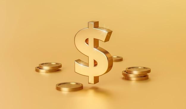 3d render sinal de ouro e moedas com fundo dourado