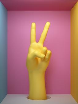 3d render, sinal de vitória feminina mão artificial amarelo, parte do corpo de manequim dentro de caixa quadrada, gesto de rock de festa, exposição de loja, conceito moderno de moda minimalista