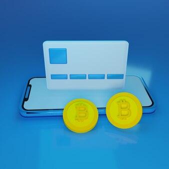 3d render smartphone azul com cartão de crédito flutuante e dois bitcoin em fundo azul