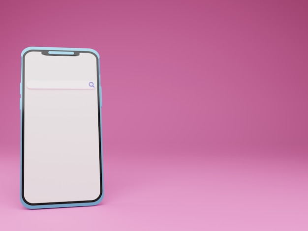 3d render smartphone com barra de pesquisa em fundo rosa