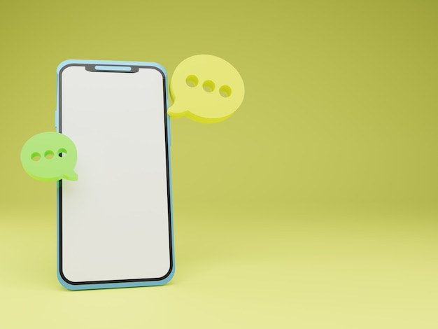 3d render smartphone com bolha flutuante de bate-papo em fundo amarelo