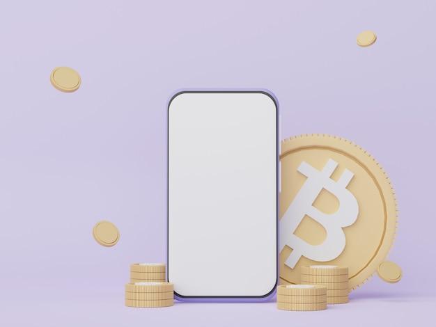 3d render smartphone para trabalho com cópia em branco e bitcoin criptomoeda para web banner