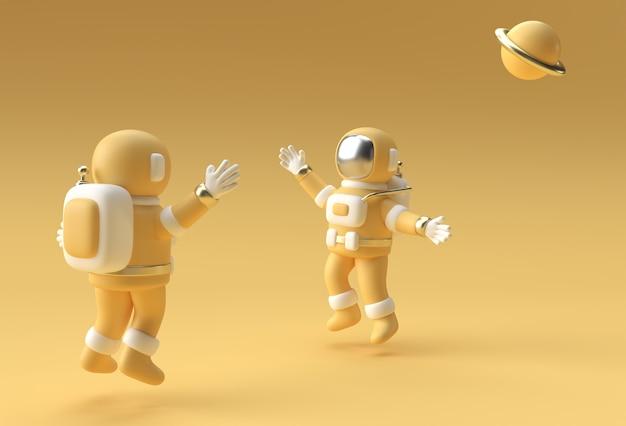 3d render spaceman astronaut jumping 3d illustration design.