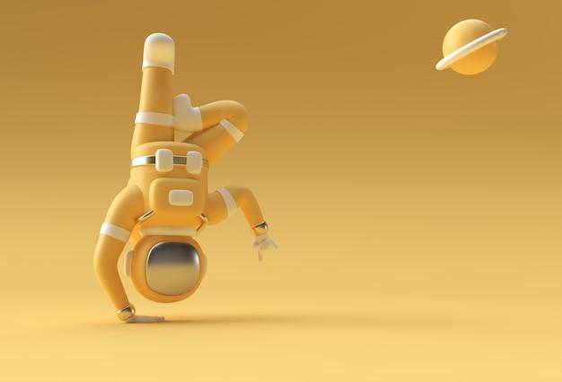 3d render spaceman astronaut yoga gestures ilustração 3d design.