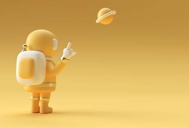 3d render spaceman astronauta mão acima rock gesto ilustração 3d design.