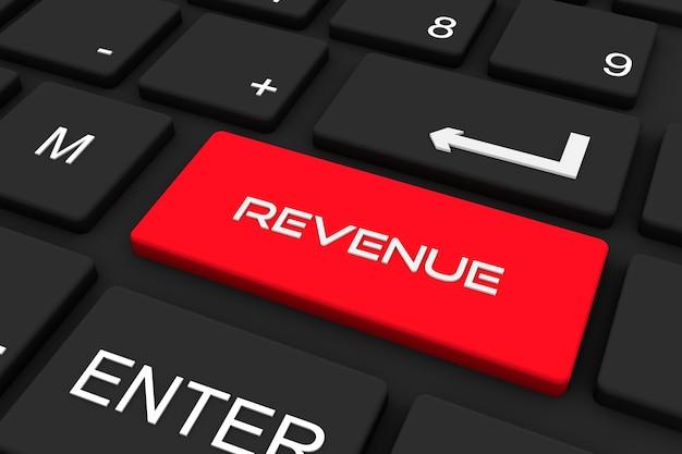 3d render. teclado preto com tecla de receita, fundo de conceito de negócios e tecnologia