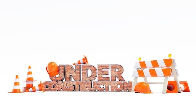 3d render texto em construção com efeito de tijolos e objetos de segurança ao redor no fundo branco