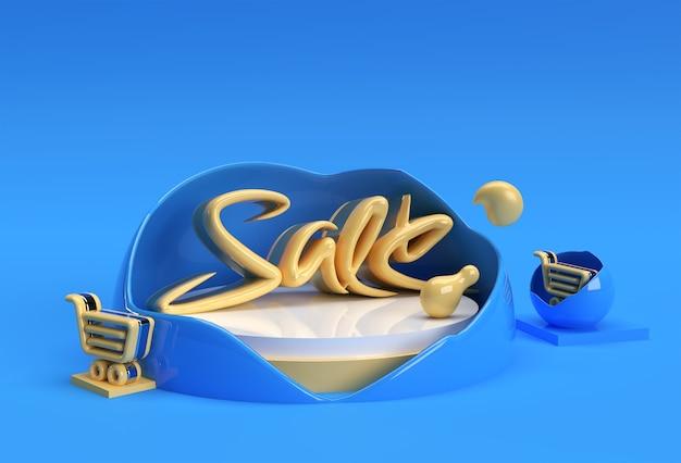 3d render texto grande venda. design gráfico da ilustração 3d.