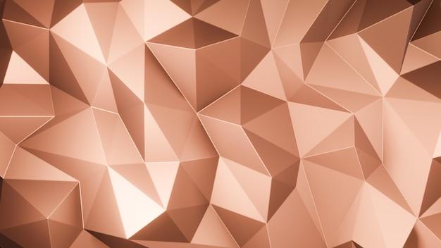 3d render triângulo de ouro rosa polígonos abstrato mosaico de fundo