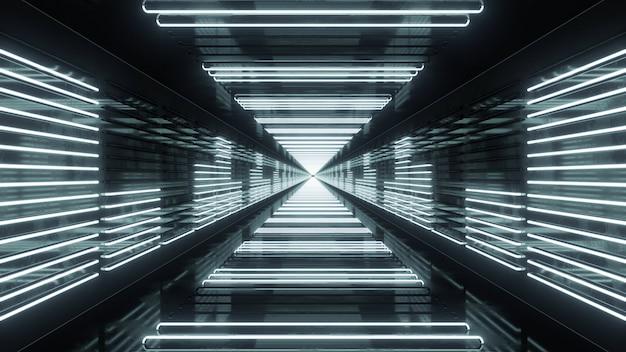 3d render túnel em loop com equalizador de néon