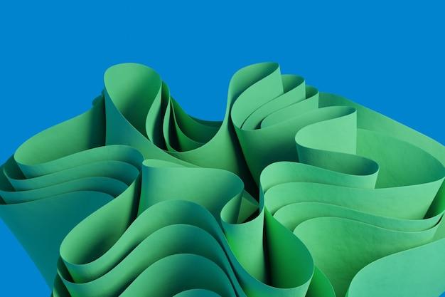 3d render uma figura ondulada abstrata verde em um fundo azul papel de parede com objetos 3d