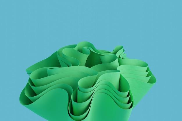 3d render uma forma ondulada abstrata verde em um fundo azul claro papel de parede com objetos 3d