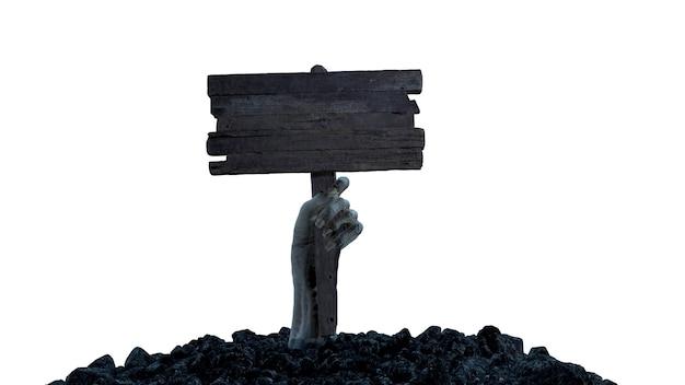 3d render uma mão zumbi com uma placa de madeira rasteja para fora do chão