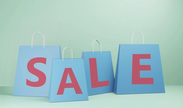 3d render venda com sacola de compras isolada. ilustração 3d