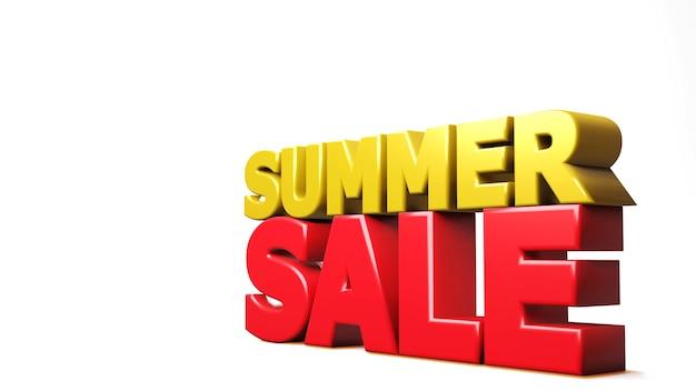 3d render venda de verão isolada no branco. ilustração 3d
