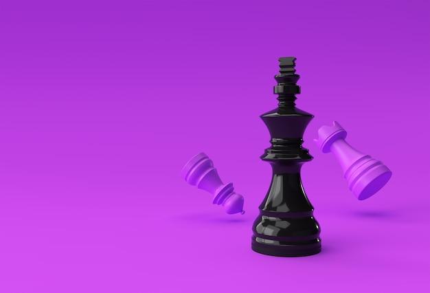 3d render xadrez realista rei torre e peões soldado ilustração design.