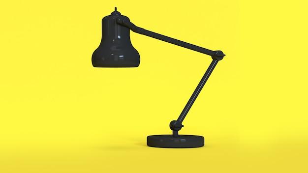 3d rendering abstrato preto lâmpada mínimo amarelo