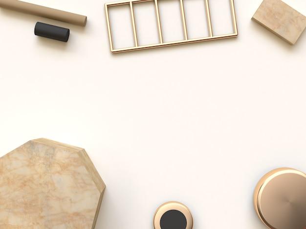 3d rendering background cream brown preto resumo forma geométrica