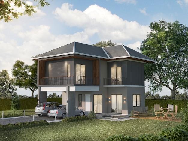 3d rendering bela casa cinza exterior