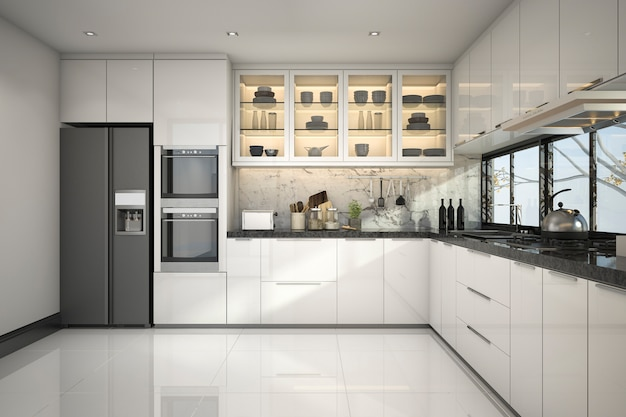 3d rendering bela cozinha moderna com decoração de mármore