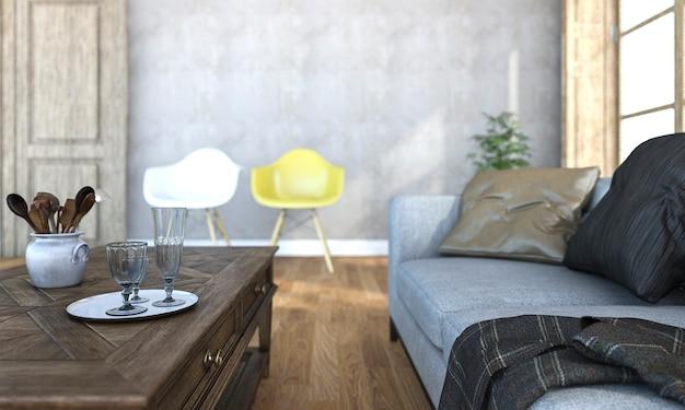 3d rendering bela profundidade de campo da sala de estar