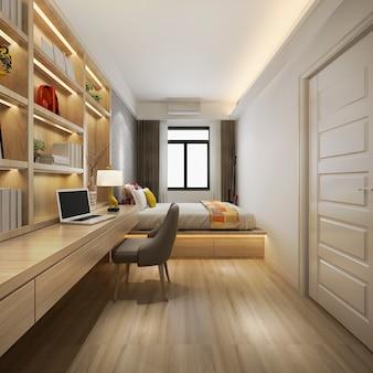 3d rendering bela suite de luxo no hotel com tv e mesa de trabalho
