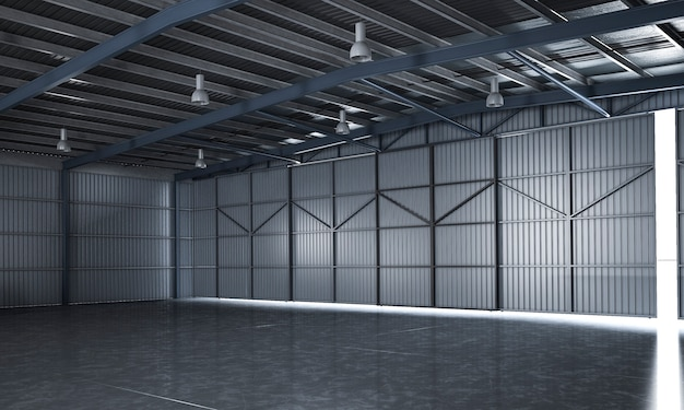 3d rendering belo armazém industrial vazio