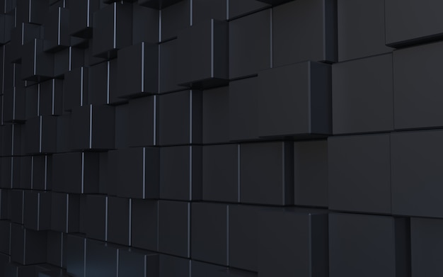 3d rendering black cube abstract background