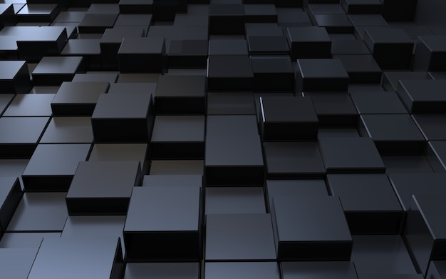 3d rendering black polygon cube abstract background