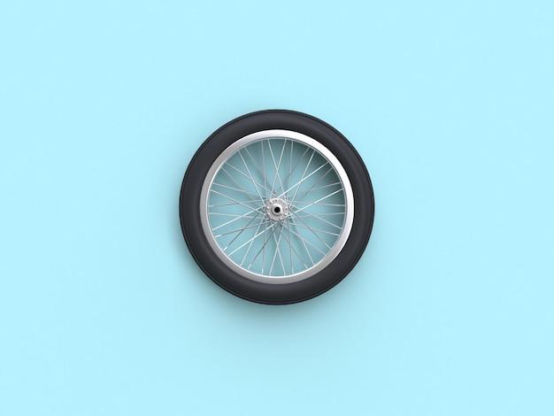 3d rendering blue flat leigos cena bicicleta roda