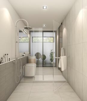 3d rendering branco nice moderno banheiro com boa decoração