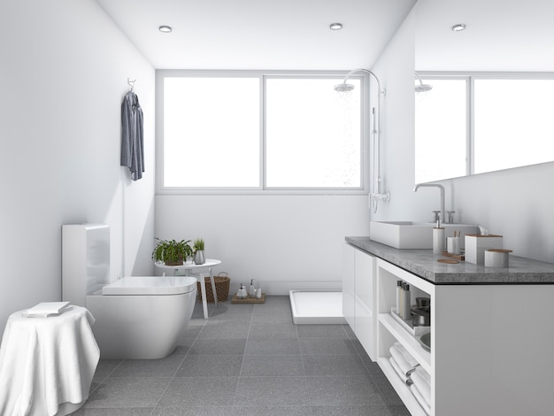 3d rendering brilhante branca limpa banheiro e casa de banho