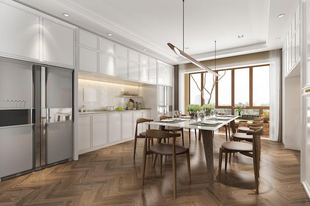 3d rendering cozinha escandinava vintage com mesa de jantar