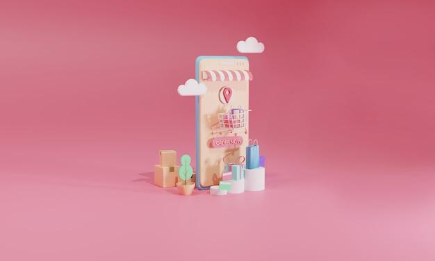 3d rendering flat illustration loja de compras online em aplicativo móvel do smartphone.