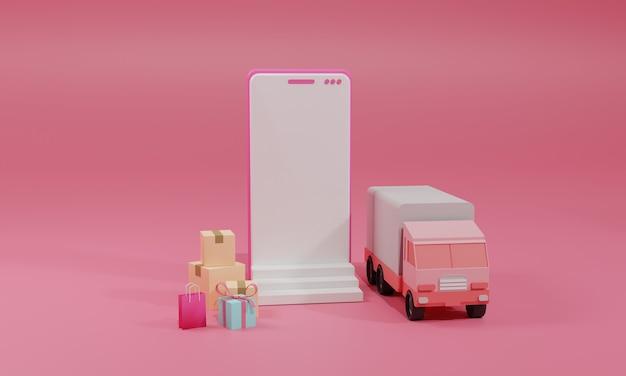3d rendering flat illustration loja de compras online no aplicativo móvel e caminhão do smartphone. ilustração premium