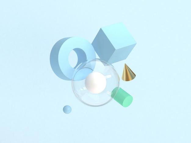 3d rendering forma geométrica abstrata mínima flutuando fundo azul