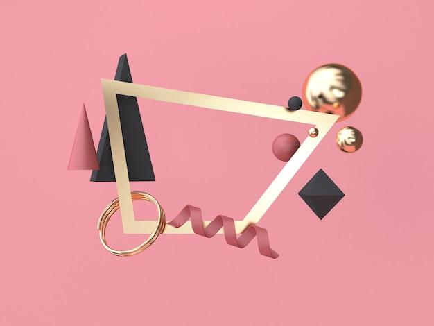 3d rendering gold square frame forma geométrica abstrata mínima de vermelho-rosa