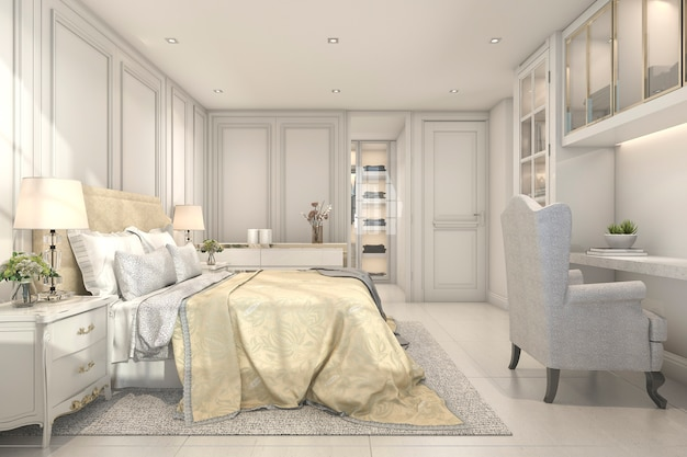 3d rendering lindo vintage e clássico garoto quarto